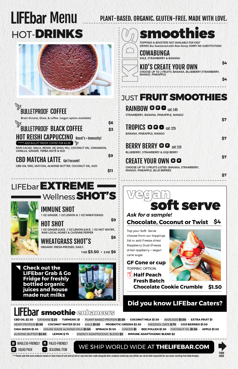 LIFEbar St. Matthews Back Menu
