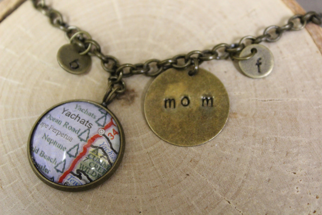 My Heart is at Home - Custom Map and Charm Bracelet