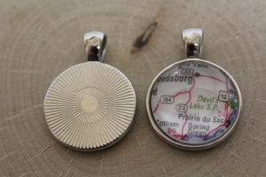 CUSTOM Glass Map Pendant Necklace - NEW Larger Size!