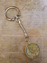CUSTOM Glass Map Keychain with Stamped Personalization