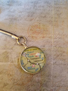 CUSTOM Glass Map Keychain