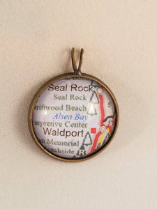 CUSTOM Glass Map Pendant Necklace - Rhinestone Accents