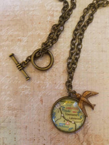 Custom map jewelry home by my heart fly away home custom glass map pendant bird necklace aloadofball Images