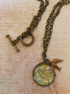 CUSTOM Glass Map Pendant Necklace with Charm