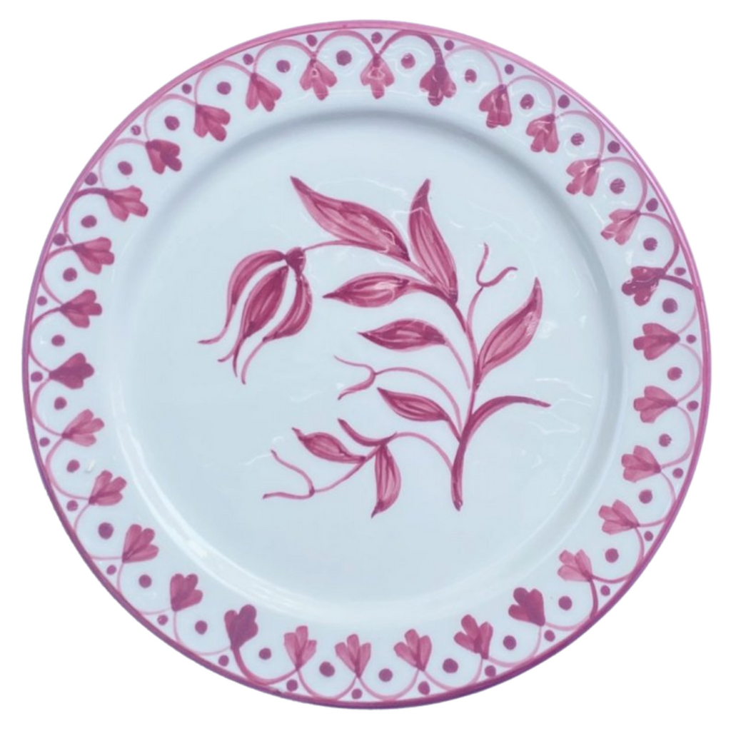 Pink tulip hand painted salad plate