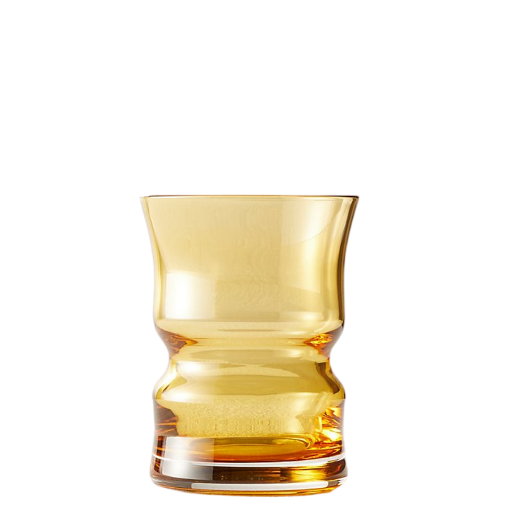 CB2 ANTOINETTE VINTAGE AMBER DOUBLE OLD-FASHIONED GLASS