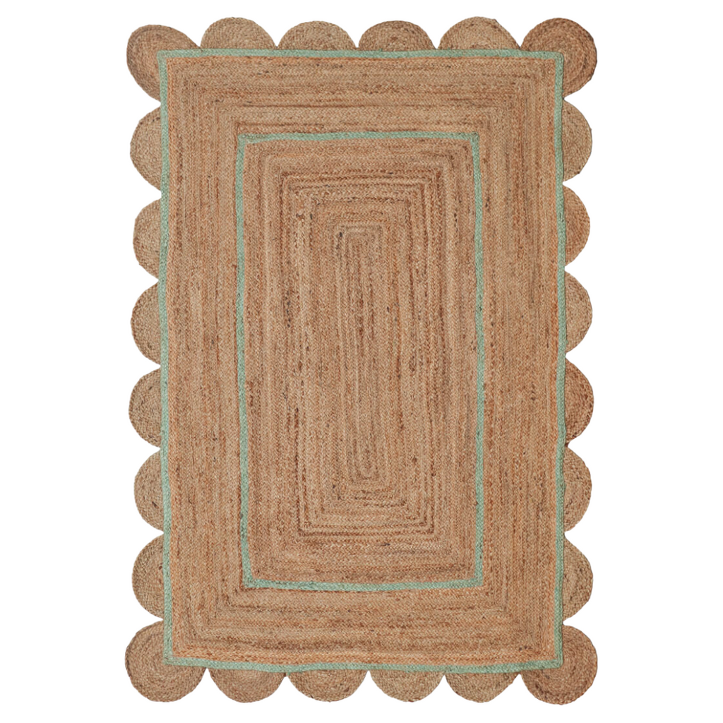 scallop jute rug with green trim