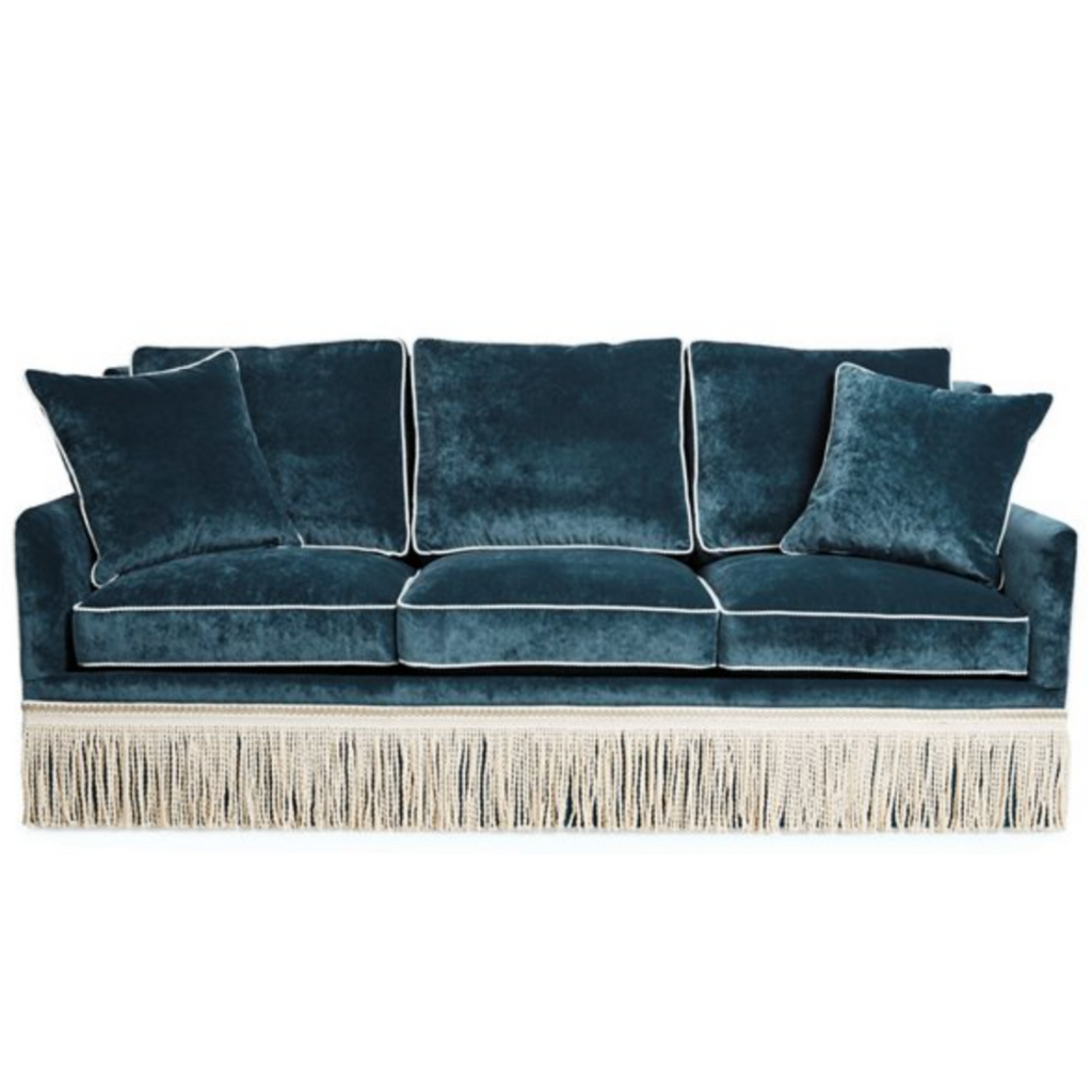 One Kings Lane Portsmouth Sofa, Teal Velvet with Fringe