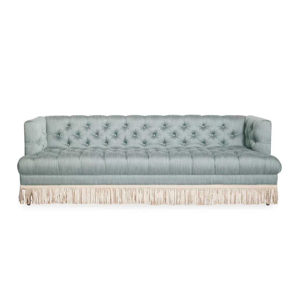 Baxter blue sofa with bullion fringe