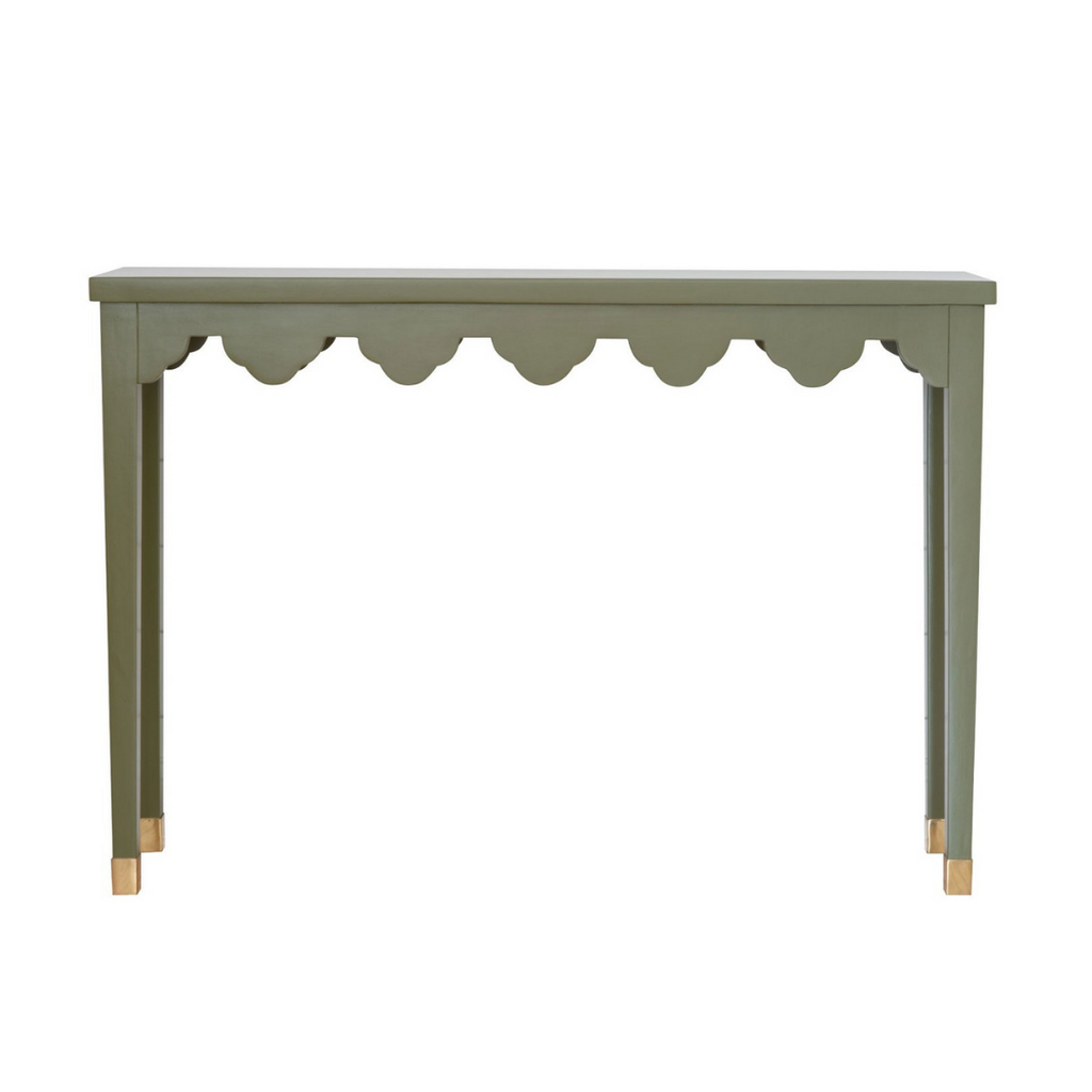 Green Scalloped Console Table