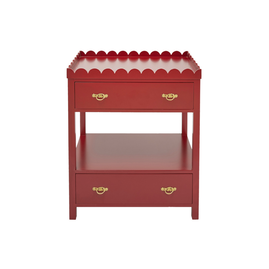 Red scalloped bedside table