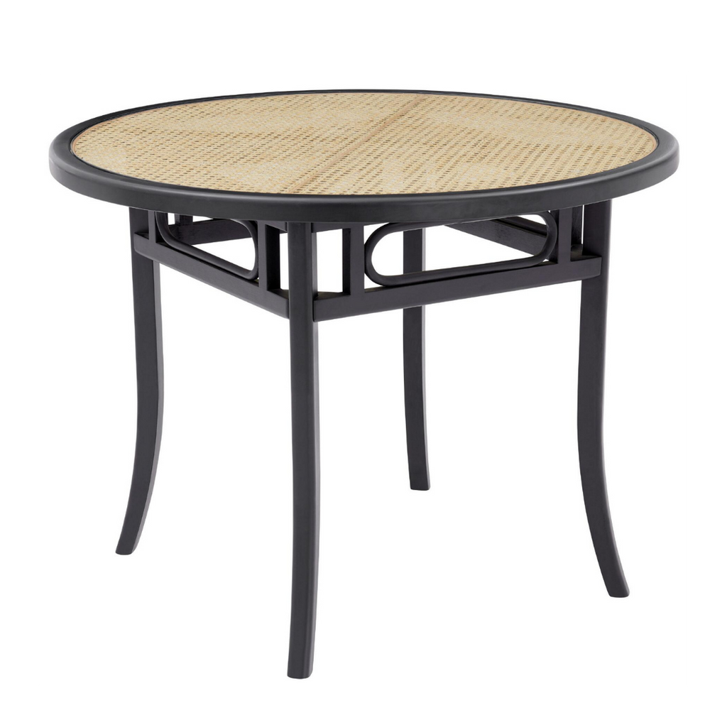 World Market Round Black Wood And Cane Glass Top Dora Dining Table