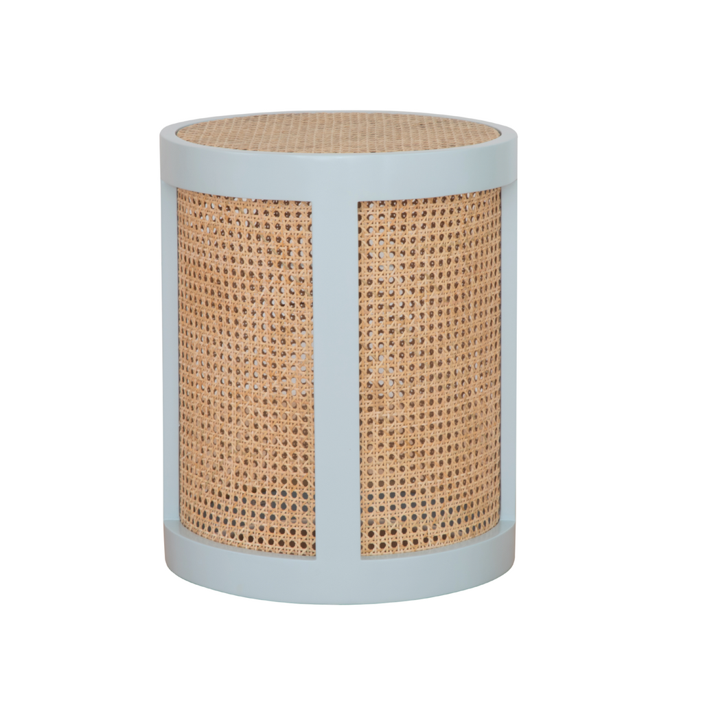 Blue cane side table