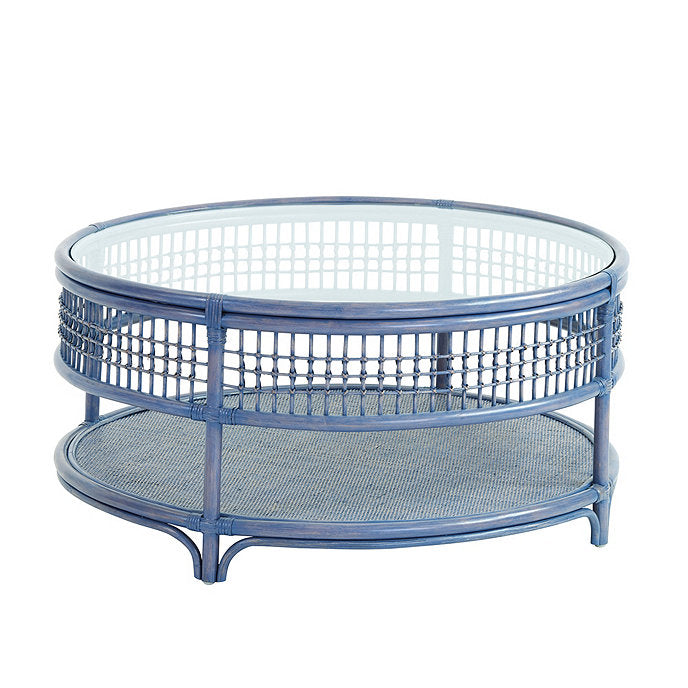 blue rattan side table