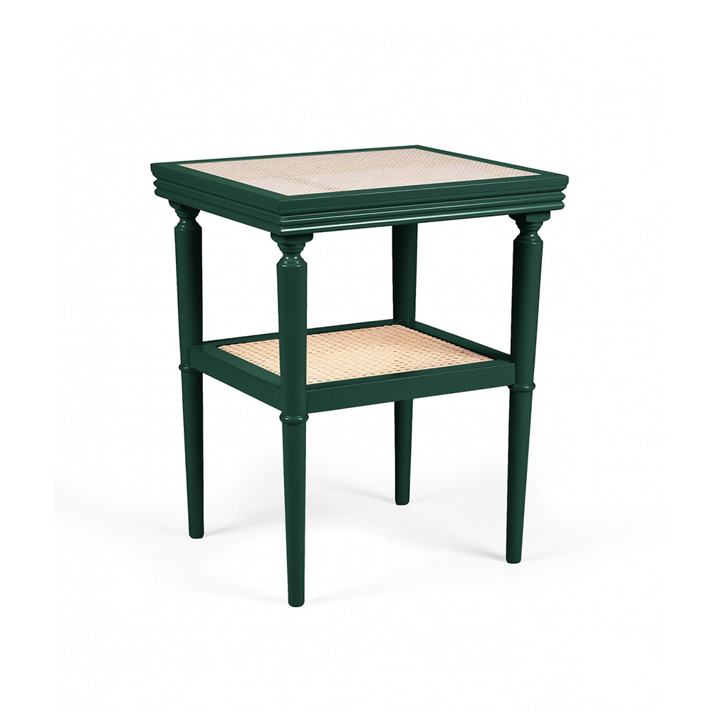 Lacquered and cane green side table