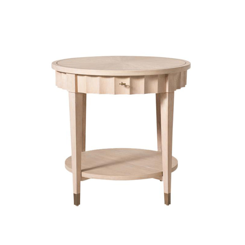 fluted wood side table