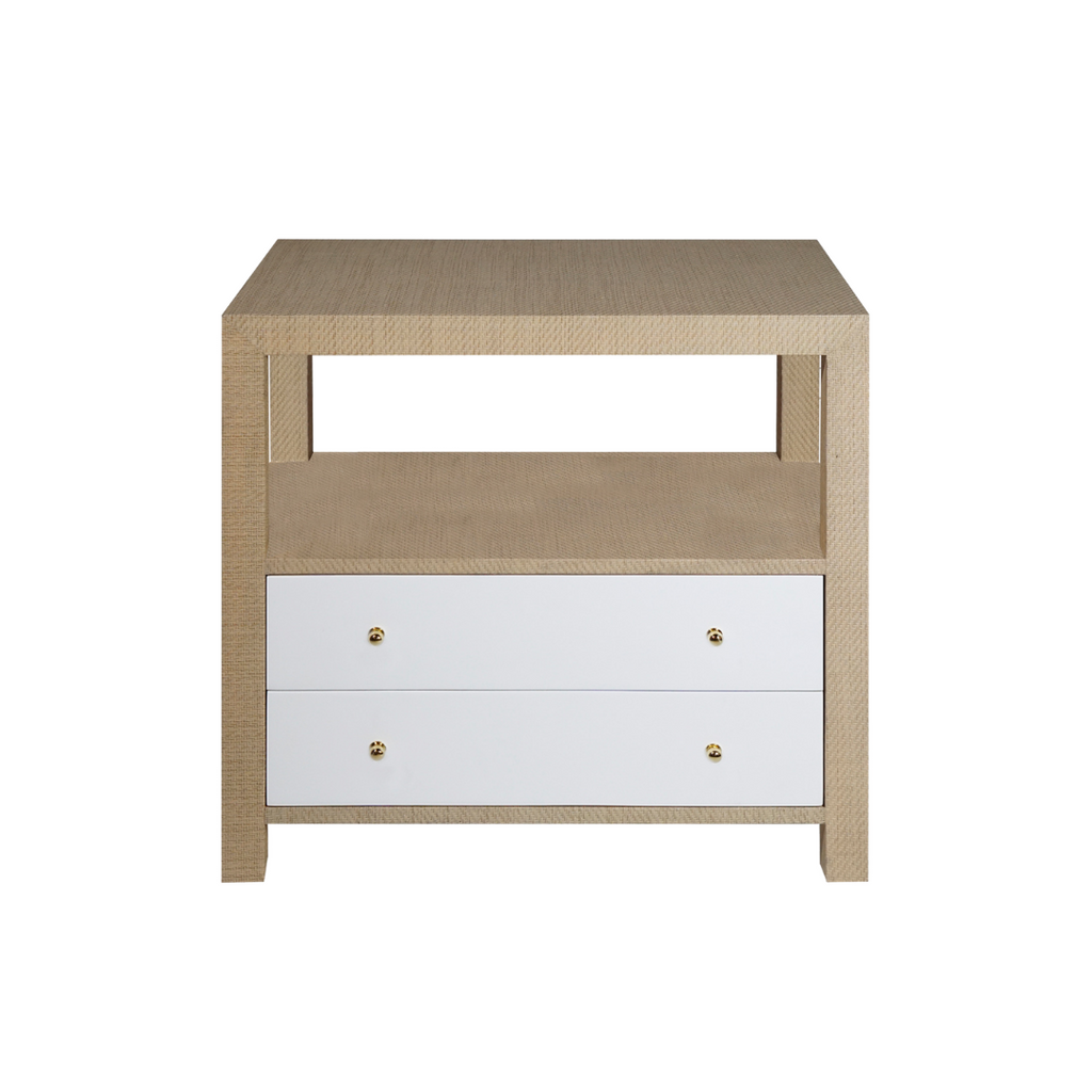 Grasscloth lacquered nightstand