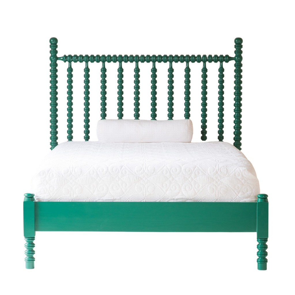 Beautiful Bed Company green spindle bed