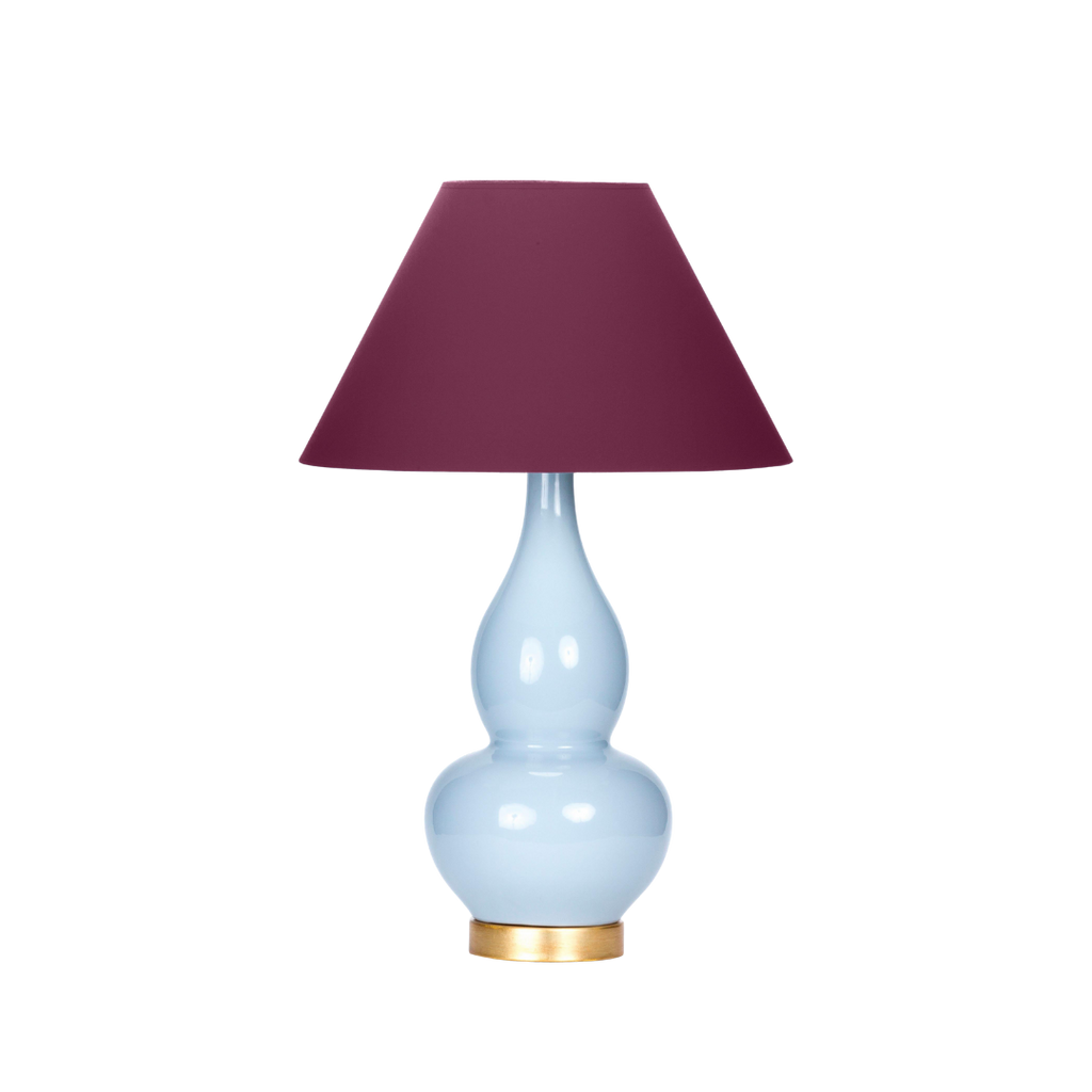Casa Cosima Double Gourd Table Lamp, Stinson Blue/Grape Juice Shade