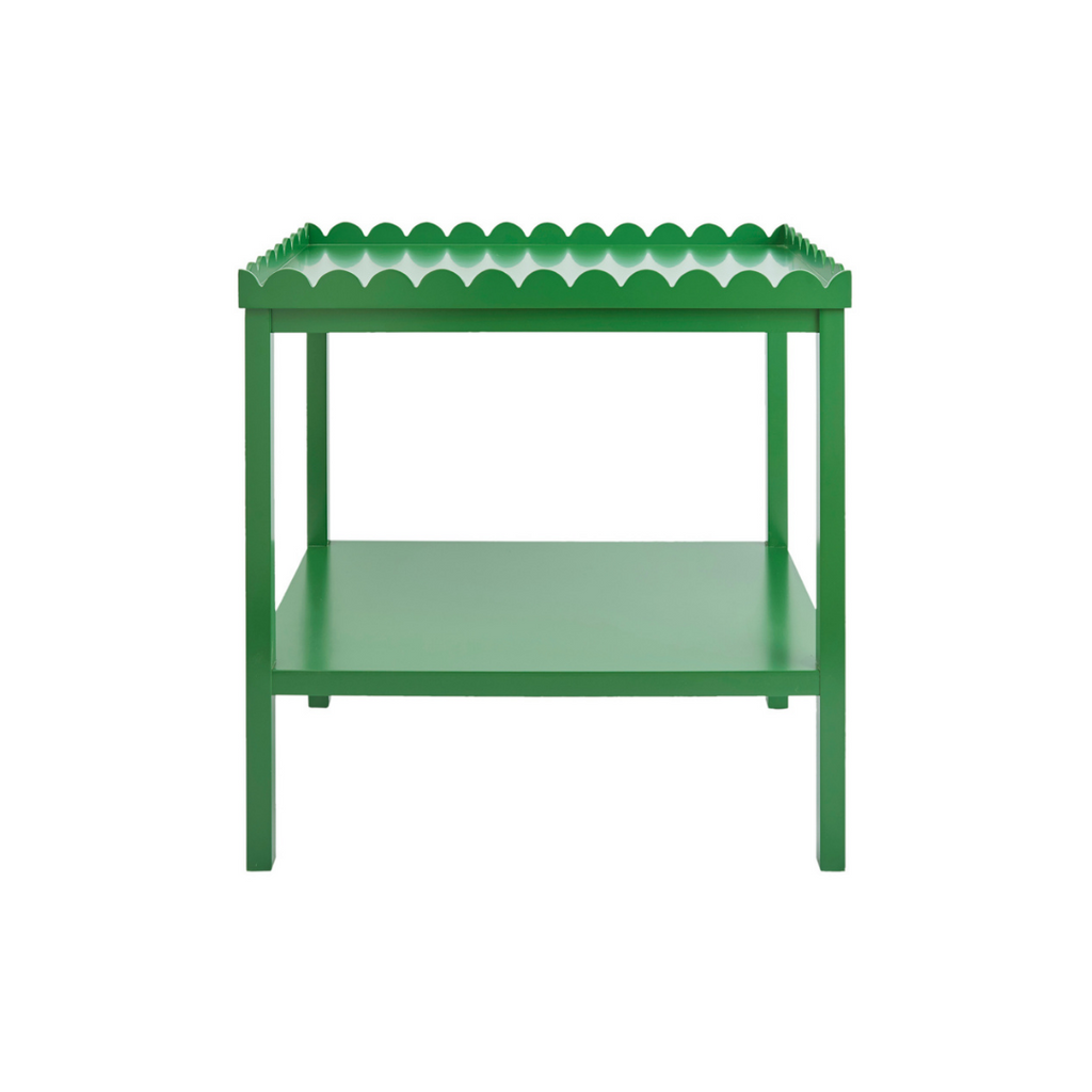 Green Scalloped Side Table
