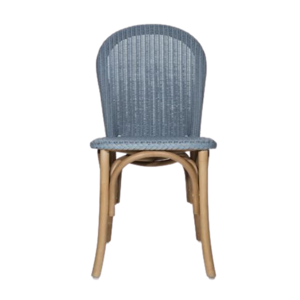 Blue rattan and oak dining chair