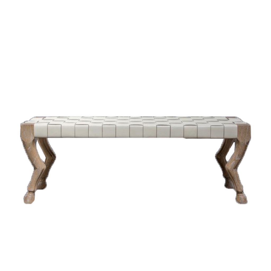Wood bench with hoof legs