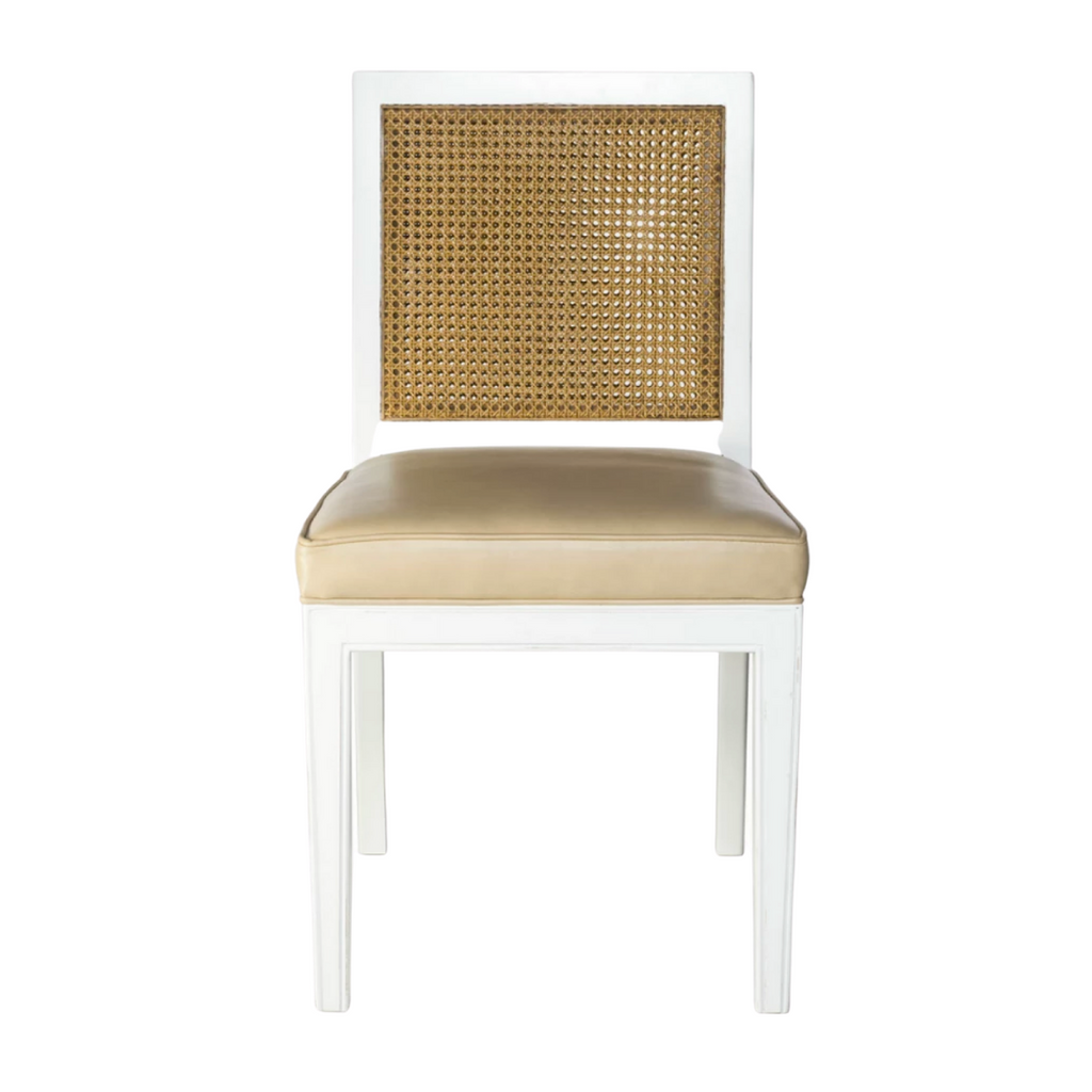 Cane and leather dining chair