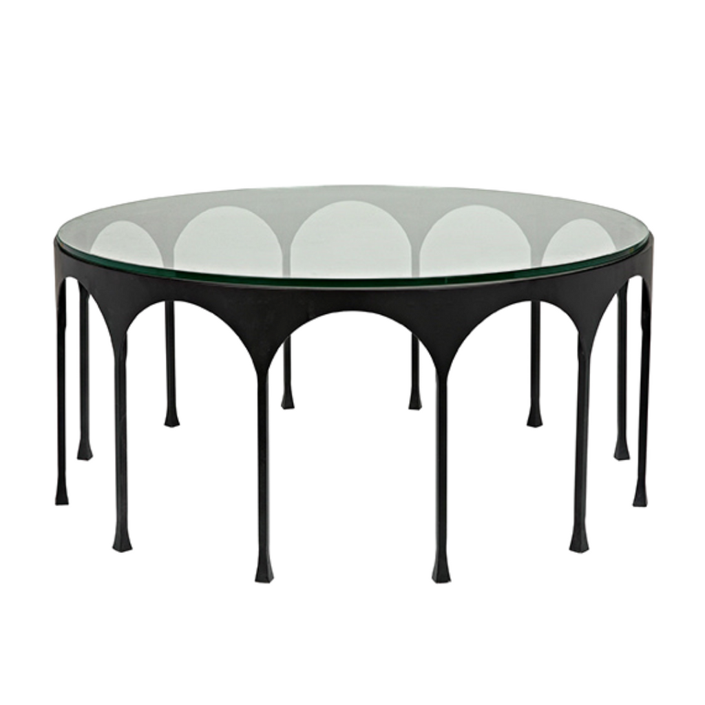 Achille metal and glass coffee table
