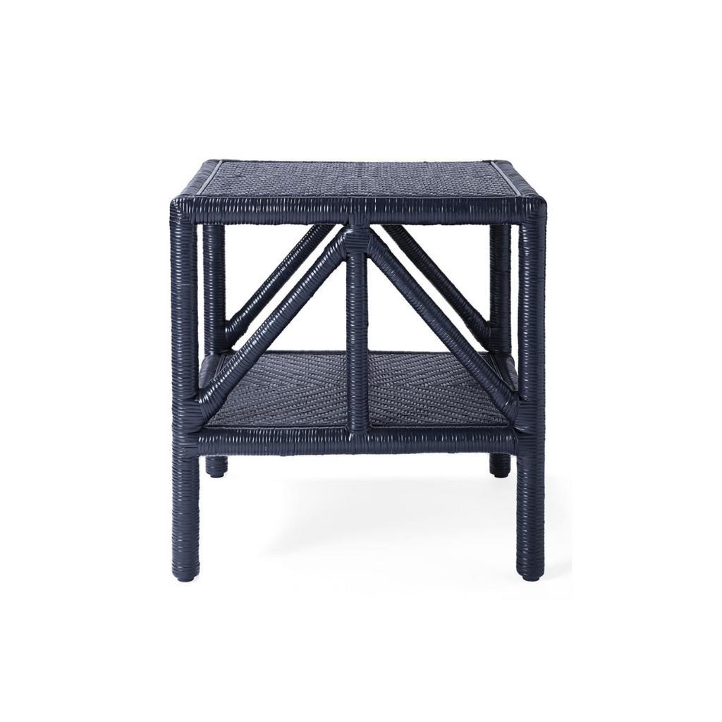 Navy rattan side table