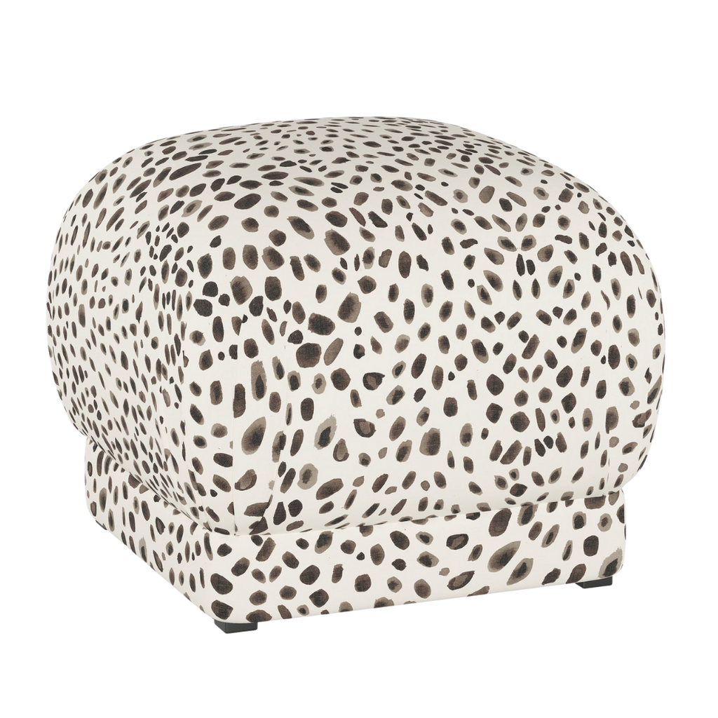 Cloth & Company Ottoman, Washed Cheetah Cream Grey