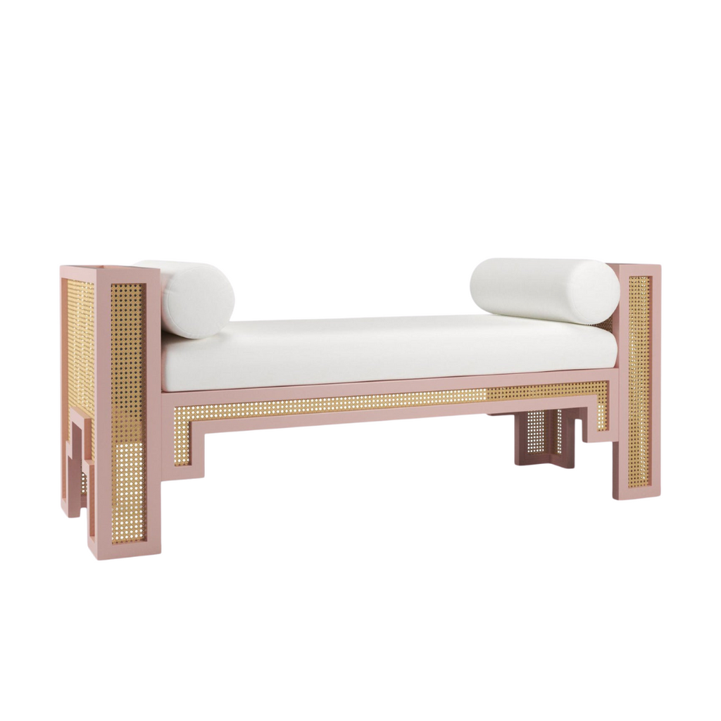 Maggie Cruz Coral Lacquered cane bench