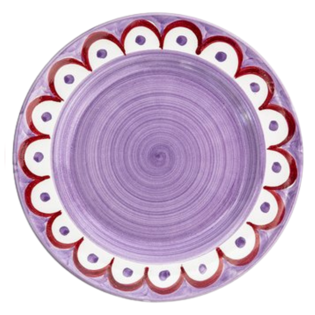 Wicklewood Set of 6 scalloped multicolored dinner plates