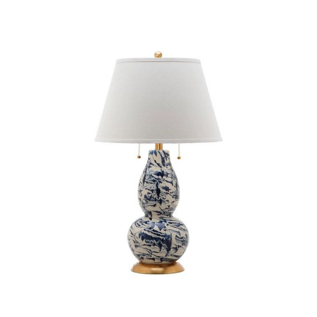 Blue marbleized table lamp