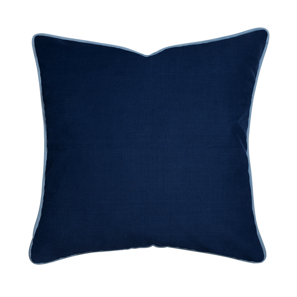 Custom navy piped pillow