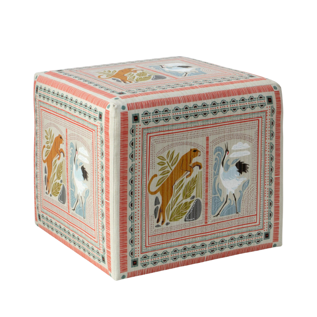Spritely Home Cube Ottoman in Fauna Multi