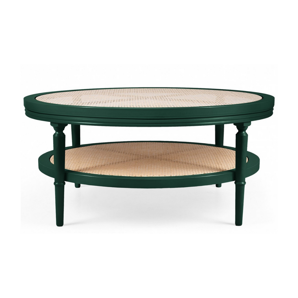 Cane and green lacquered coffee table