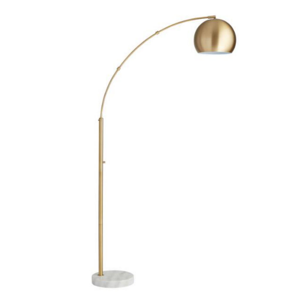 World Market Brass Arc And White Marble Hayden Floor Lamp