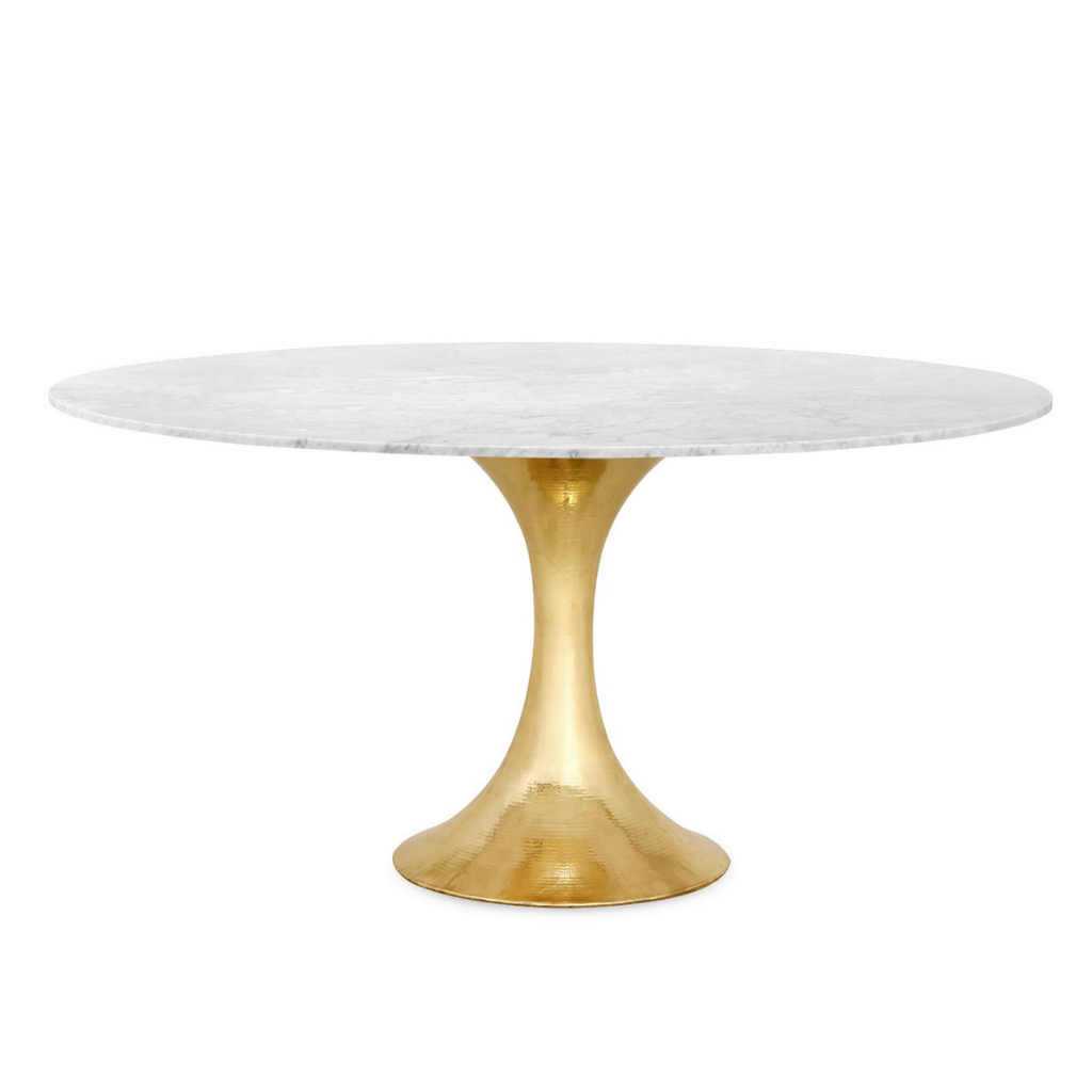 Stone top tulip table with gold base