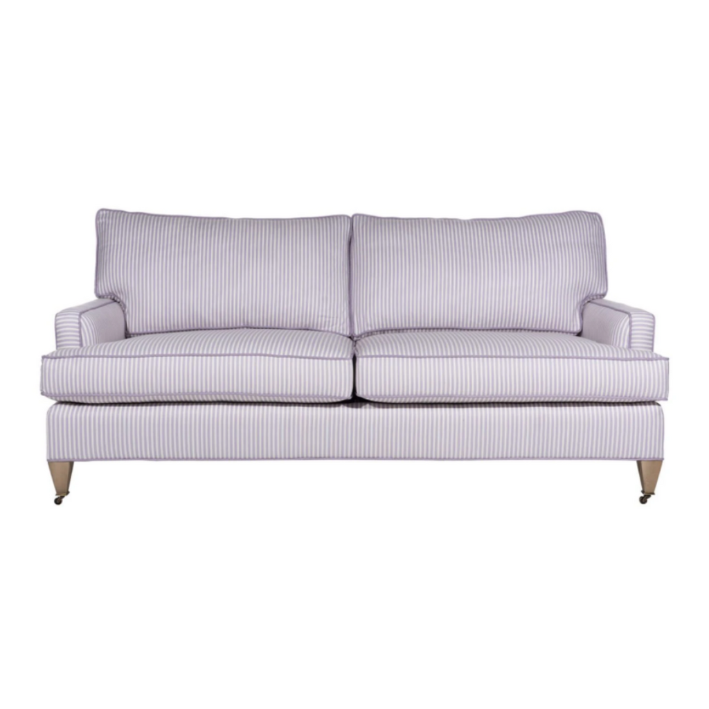 Lavender ticking stripe sofa