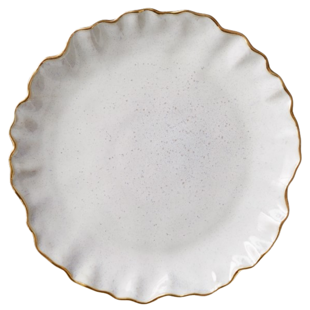 Williams Sonoma Ruffled Gold Rim Salad Plates