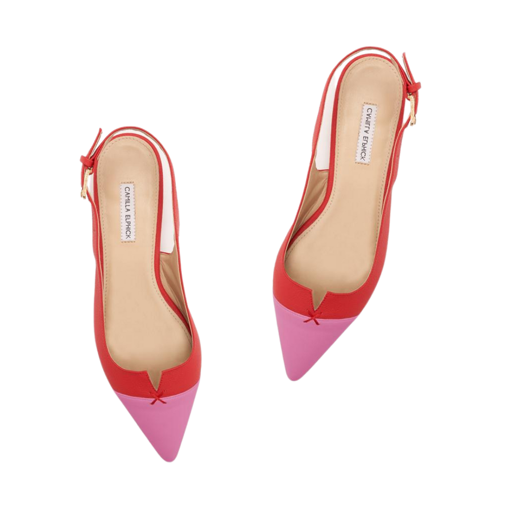 CAMILLA ELPHICK ALICIA PEARL-EMBELLISHED BUCKLE RED SLINGBACK PINK POINT TOE-FLATS