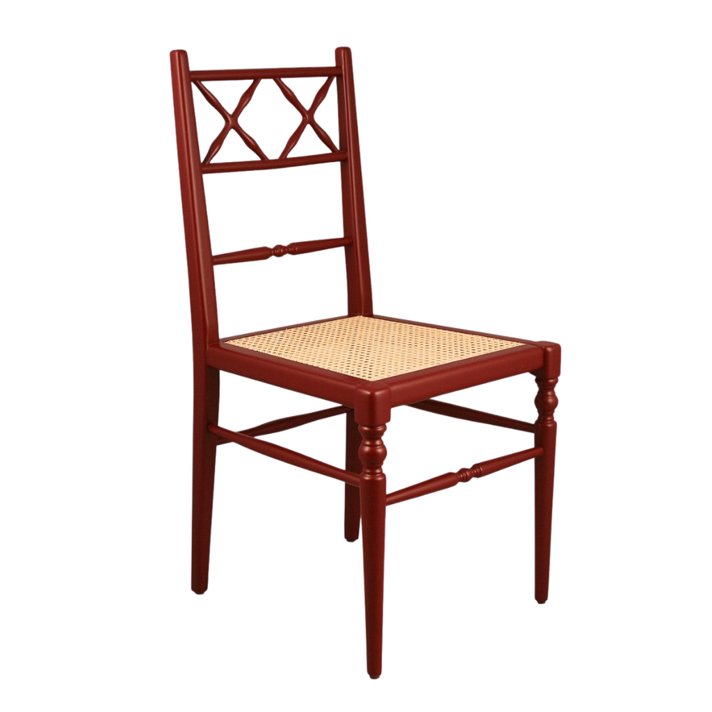 Red lacquered dining chair with cane seat