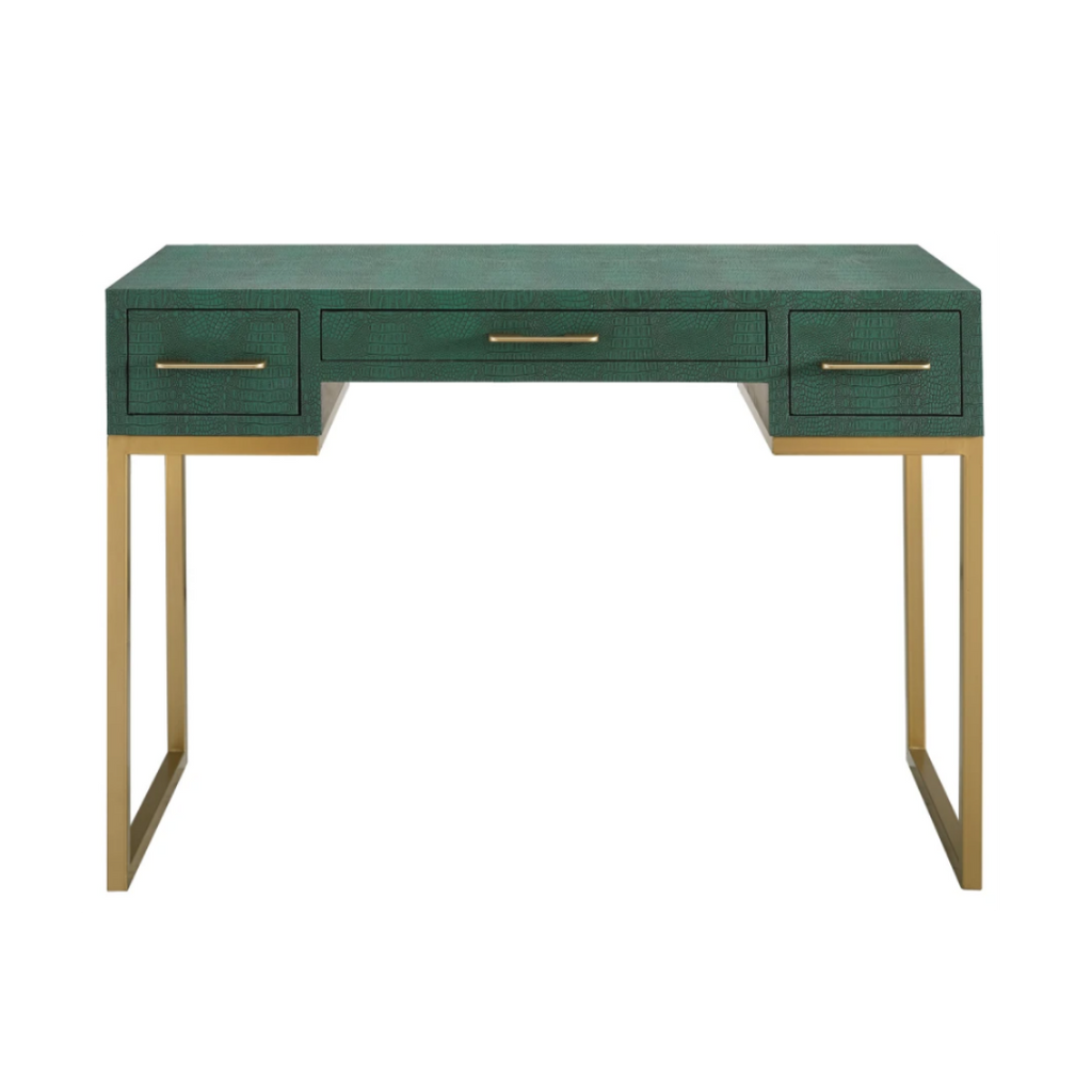 "Southern Enterprises Carabelle 2-Drawer Faux Alligator 43""W Desk With Keyboard Tray, Emerald/Gold"