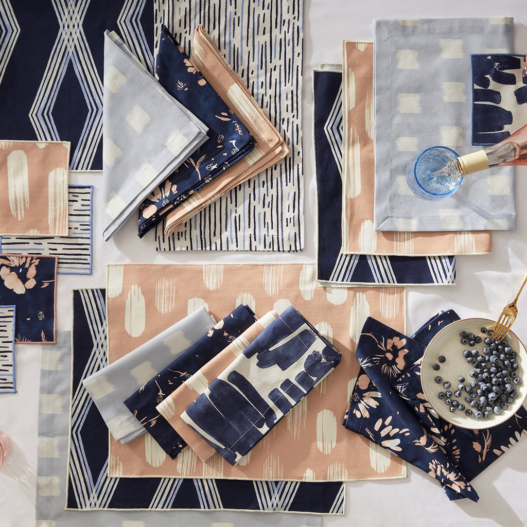 Denton Placemats in Sky mixed with other Pepper products