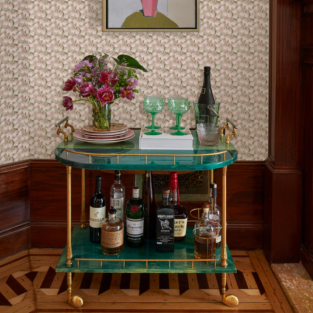 Eden Wallpaper and Bar Cart