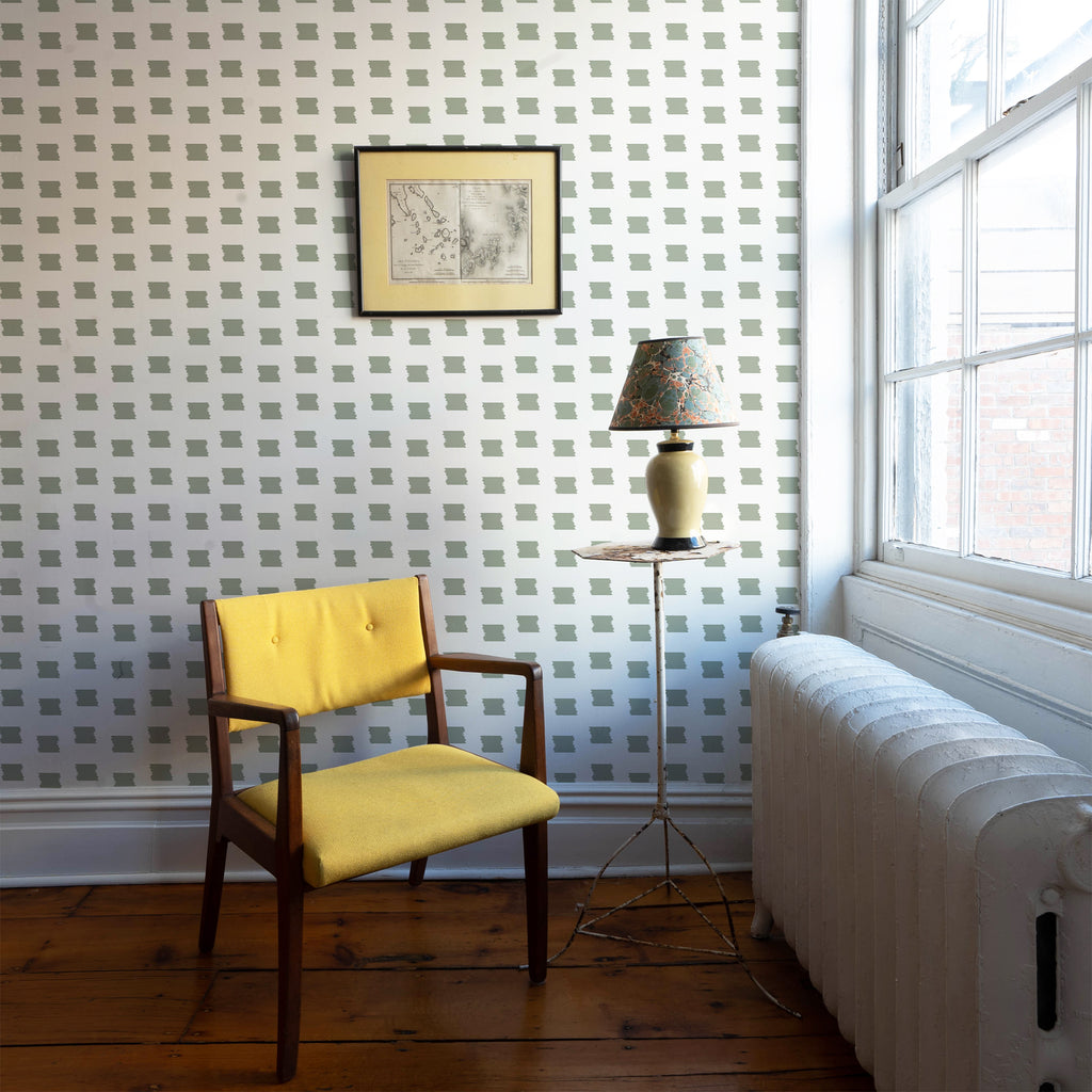 Denton Pine Wallpaper with yellow chair