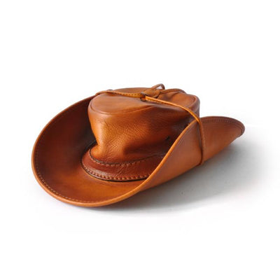 Pratesi Unisex Italian Leather Cagliostro Western Hat 59 cm - 23.5 in - 7-1/2 Fitted Size