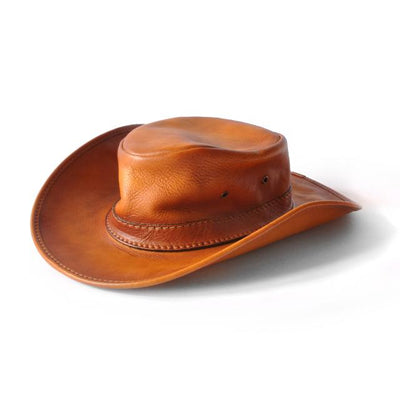 Pratesi Unisex Italian Leather Cagliostro Western Hat 57 cm - 22 in - 7-1/4 Fitted Size