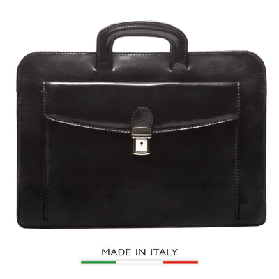 Alberto Bellucci Milano Italian Leather Roman Portfolio Document Case Bag in Black