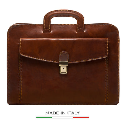 Alberto Bellucci Milano Italian Leather Roman Portfolio Document Case Bag in Brown